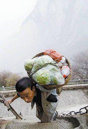 华山独臂挑夫3000余次登顶养家 拒绝乞讨(图)